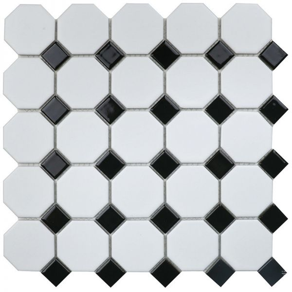 Мозаика Кер. мозаика Octagon small White/Black Matt (NXWN51488/IDLA2575) 295х295х6